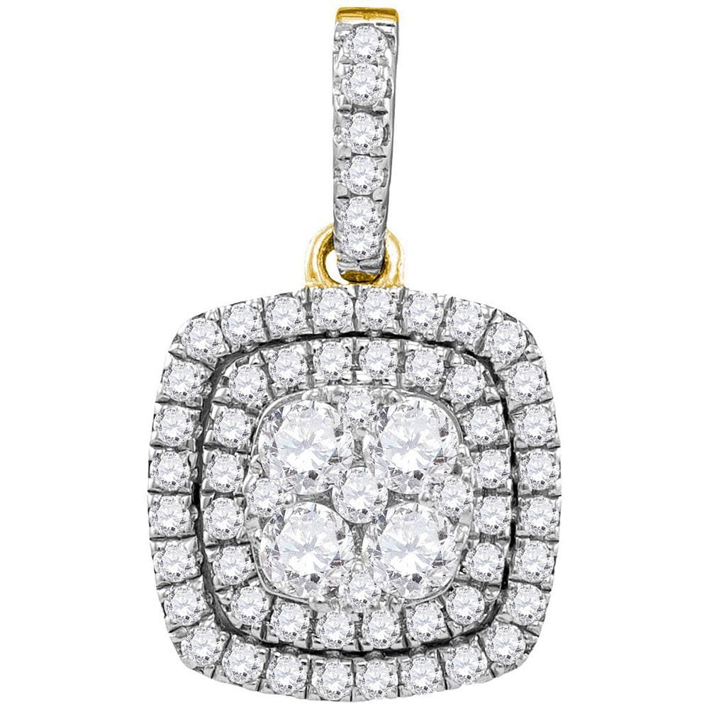 14kt Yellow Gold Womens Round Diamond Square Pendant 7/8 Cttw