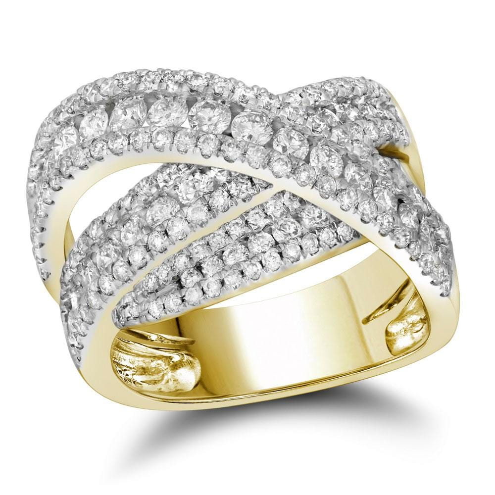 10kt Yellow Gold Womens Round Diamond Crossover Fashion Ring 2 Cttw