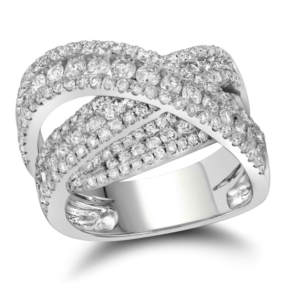 10kt White Gold Womens Round Diamond Crossover Fashion Ring 2-1/5 Cttw