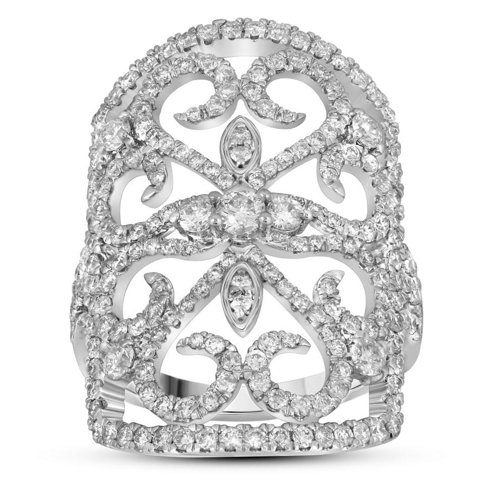 14kt White Gold Womens Round Diamond Vintage-style Knuckle Band Ring 1-3/4 Cttw