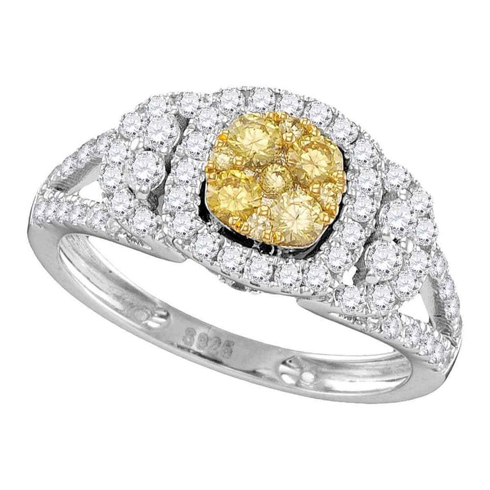 14kt White Gold Round Yellow Diamond Cluster Bridal Wedding Engagement Ring 1-1/5 Cttw