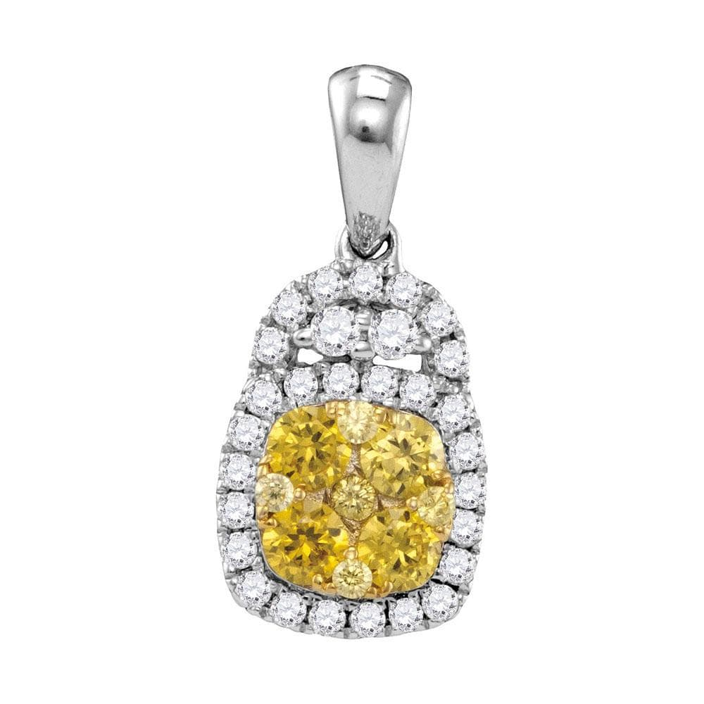 14kt White Gold Womens Round Yellow Diamond Cluster Pendant 3/4 Cttw