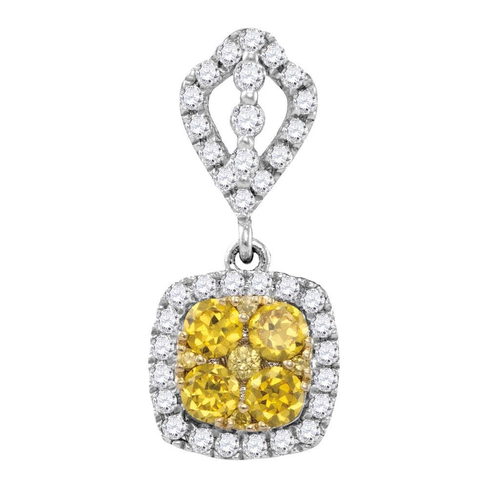 14kt White Gold Womens Round Yellow Diamond Square Cluster Pendant 7/8 Cttw