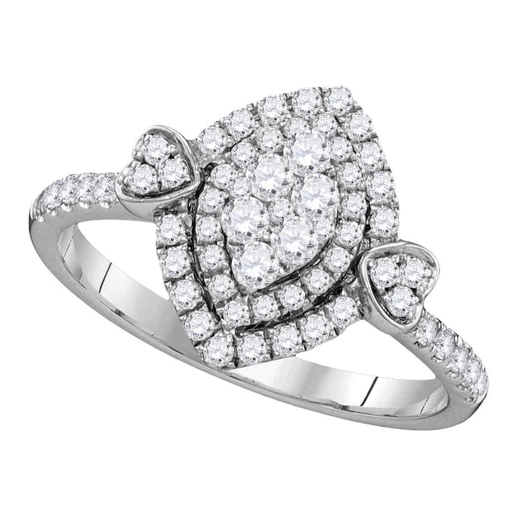 14kt White Gold Womens Round Diamond Oval Double Halo Cluster Ring 1/2 Cttw