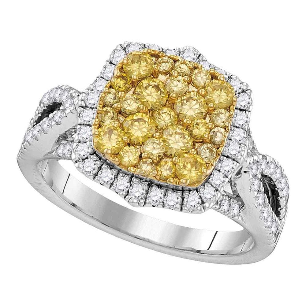14kt White Gold Womens Round Canary Yellow Diamond Cluster Twist Ring 1-3/4 Cttw