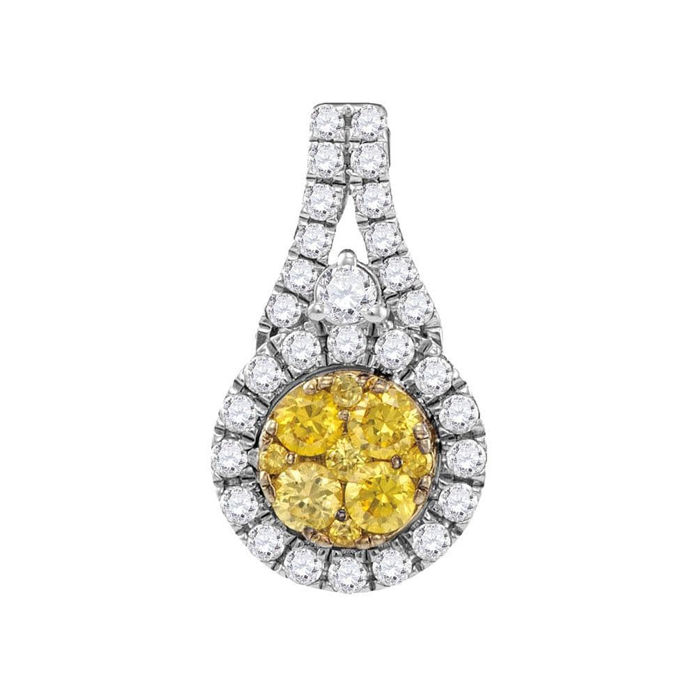 14kt White Gold Womens Round Yellow Diamond Circle Frame Cluster Pendant 5/8 Cttw