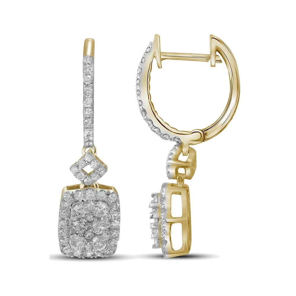 14kt Yellow Gold Womens Round Diamond Rectangle Dangle Hoop Earrings 7/8 Cttw