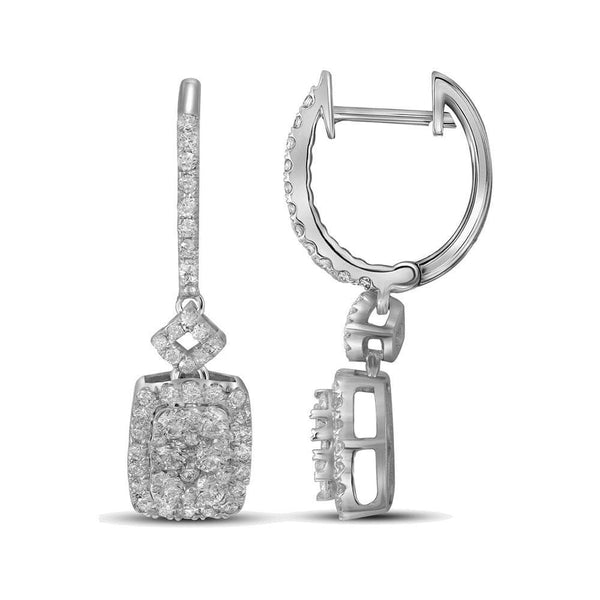 14kt White Gold Womens Round Diamond Rectangle Dangle Earrings 7/8 Cttw