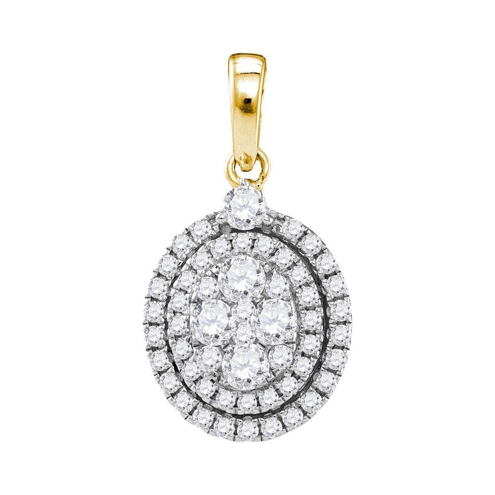 14kt Yellow Gold Womens Round Diamond Oval Cluster Pendant 1 Cttw