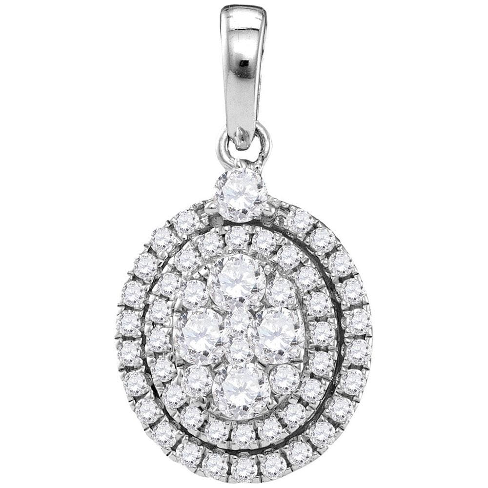 14kt White Gold Womens Round Diamond Oval Cluster Pendant 1-1/10 Cttw