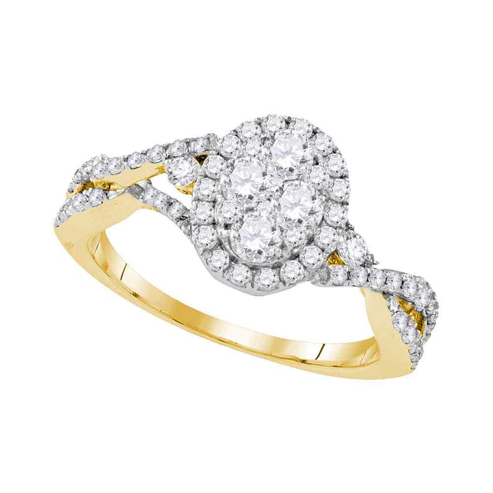 10kt Yellow Gold Womens Round Diamond Oval Cluster Halo Twist Bridal Wedding Engagement Ring 1-1/8 Cttw
