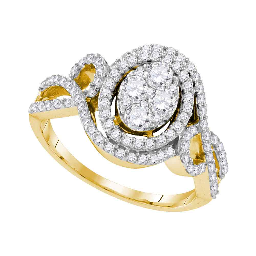 10kt Yellow Gold Womens Round Diamond Oval Halo Twist Cluster Bridal Wedding Engagement Ring 1-1/20 Cttw