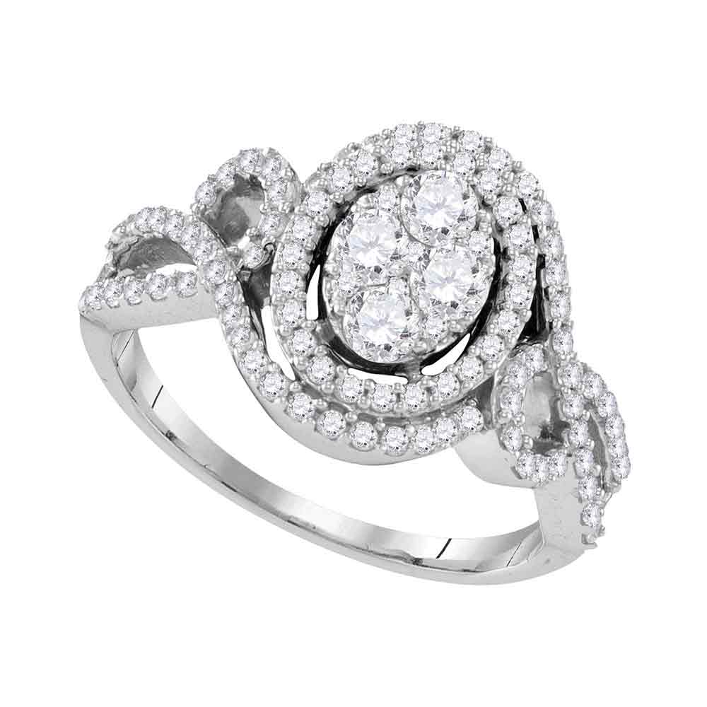 10kt White Gold Womens Round Diamond Oval Halo Twist Cluster Bridal Wedding Engagement Ring 1-1/12 Cttw