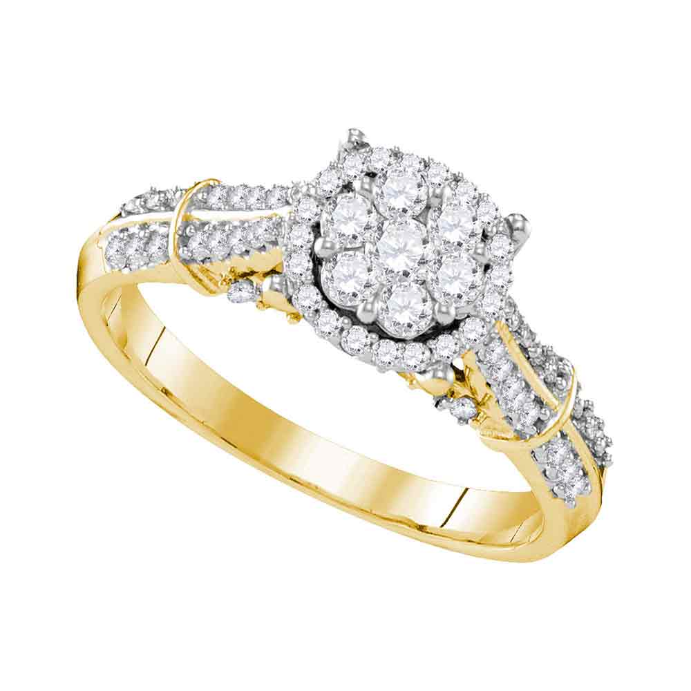 10kt Yellow Gold Womens Round Diamond Flower Cluster Bridal Wedding Engagement Ring 3/4 Cttw
