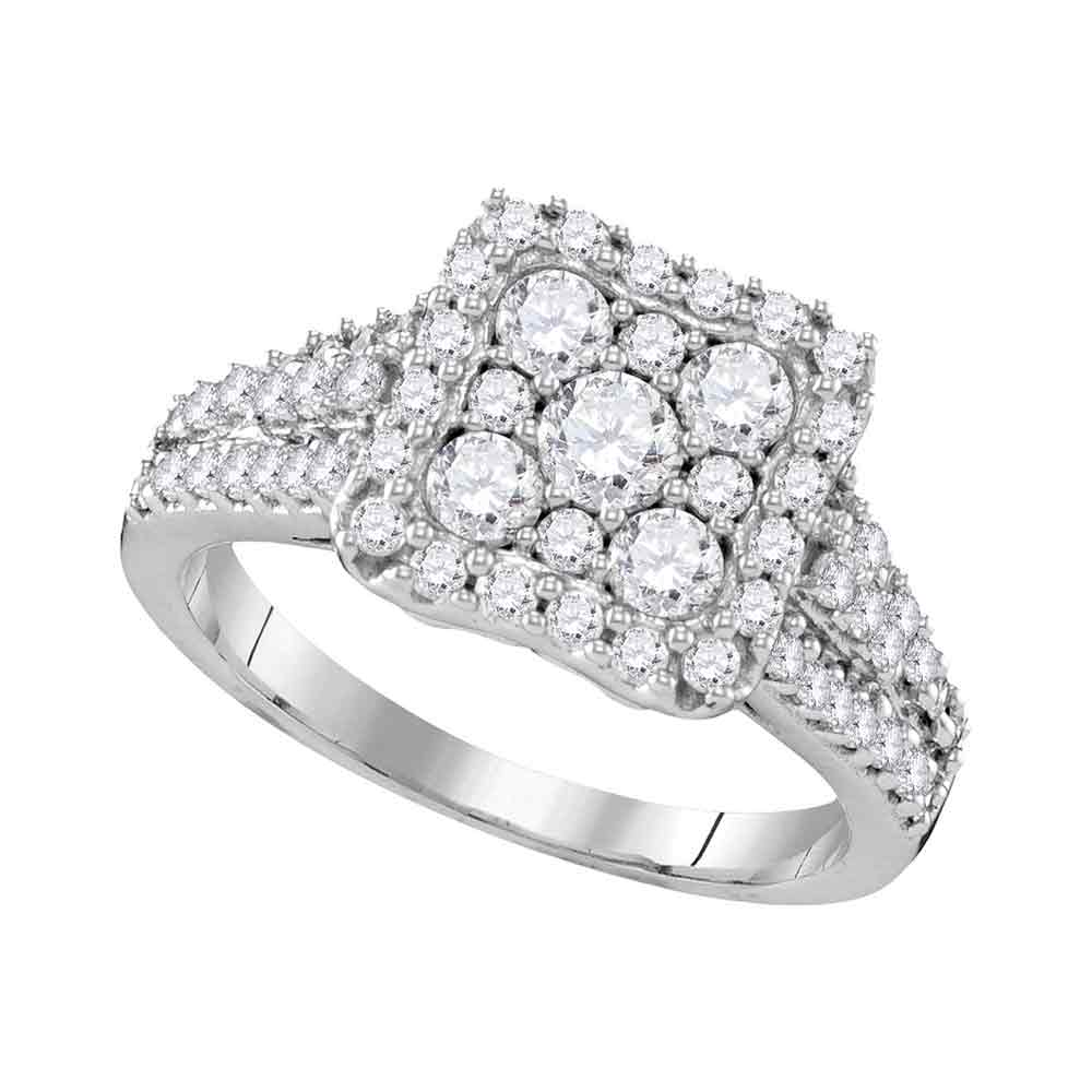 10kt White Gold Womens Round Diamond Square Cluster Halo Bridal Wedding Engagement Ring 1-1/5 Cttw