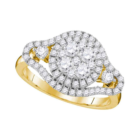 10kt Yellow Gold Womens Round Diamond Cluster Halo Bridal Wedding Engagement Ring 1-1/5 Cttw