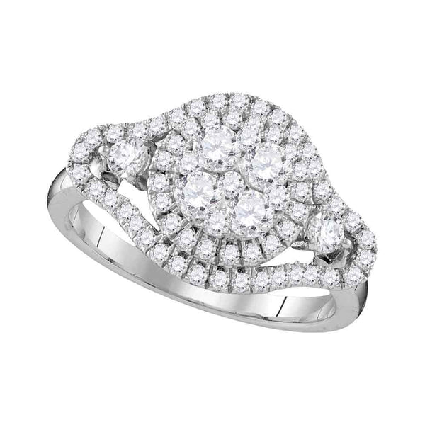 10kt White Gold Womens Round Diamond Cluster Halo Bridal Wedding Engagement Ring 1-1/5 Cttw