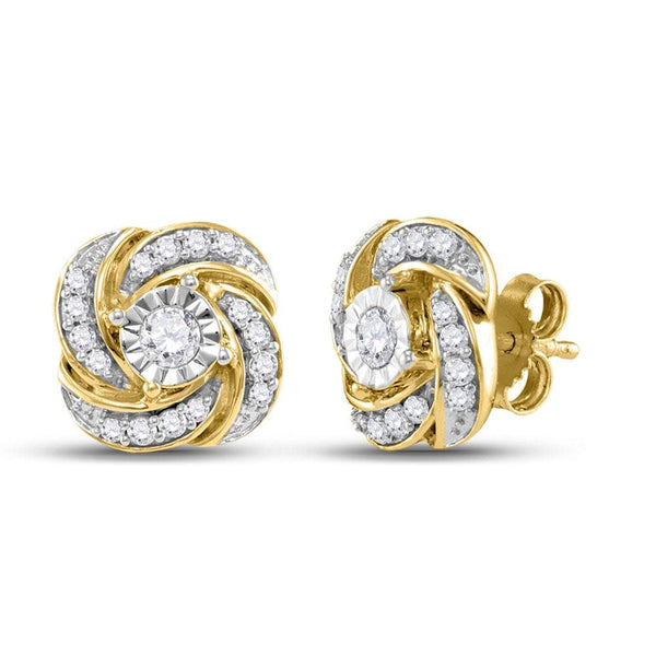 10kt Yellow Gold Womens Round Diamond Pinwheel Stud Earrings 1/3 Cttw