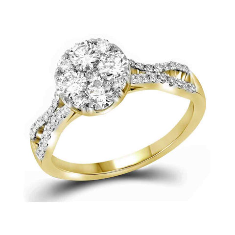 10kt Yellow Gold Womens Round Diamond Cluster Bridal Wedding Engagement Ring 1.00 Cttw