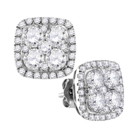 10kt White Gold Womens Round Diamond Square Frame Cluster Earrings 2-5/8 Cttw