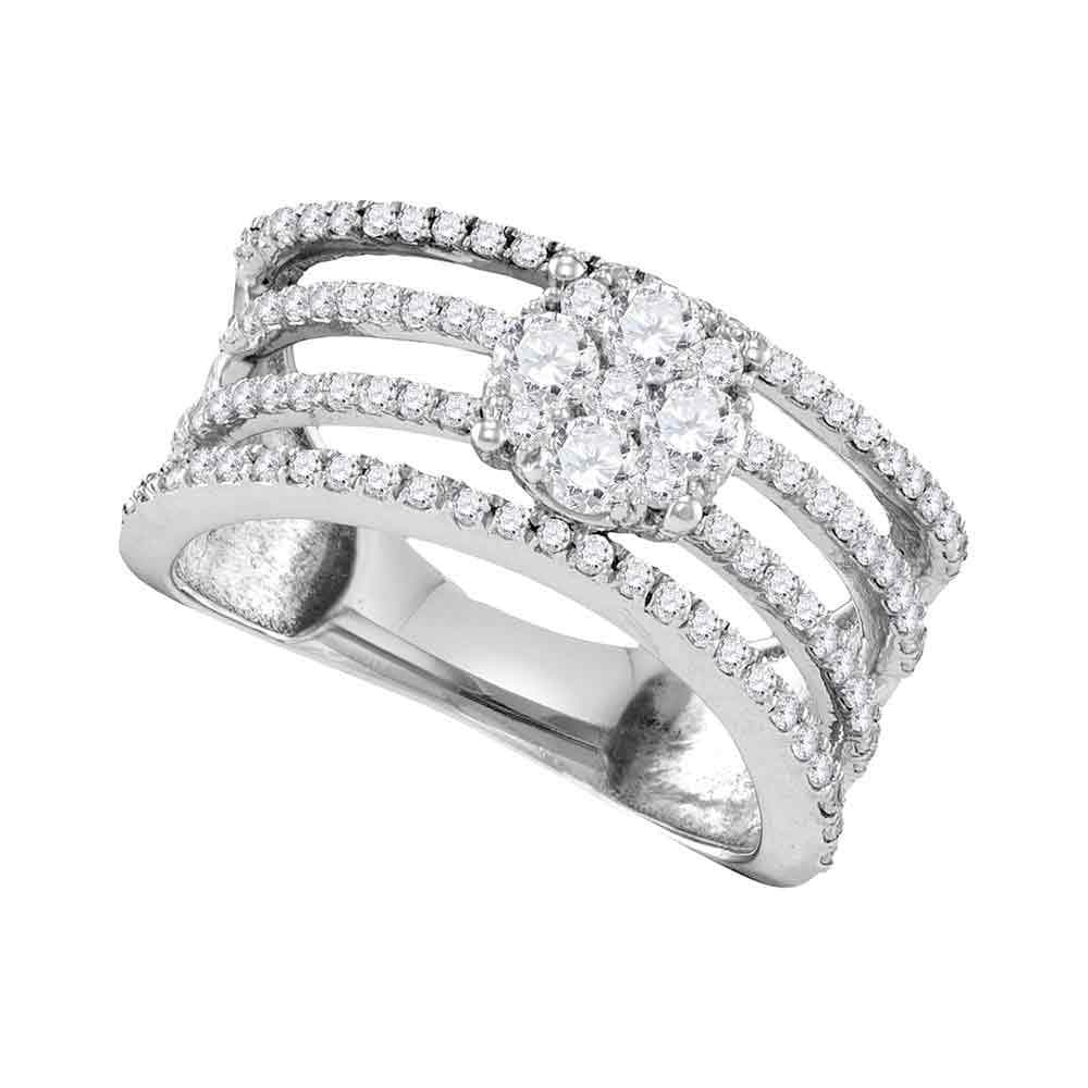 10kt White Gold Womens Round Diamond Four Row Flower Cluster Ring 1.00 Cttw