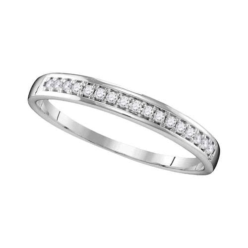 10kt White Gold Womens Round Diamond Wedding Band Ring 1/10 Cttw
