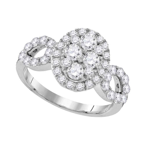 10kt White Gold Womens Round Diamond Oval Frame Cluster Ring 1-3/4 Cttw