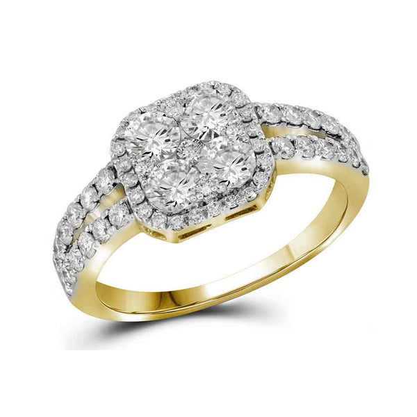 10kt Yellow Gold Womens Round Diamond Square-shape Cluster Split-shank Ring 1-1/4 Cttw