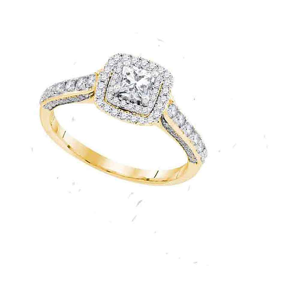 14kt Yellow Gold Womens Princess Diamond Solitaire Bridal Wedding Engagement Ring 1.00 Cttw Size 8 (Certified)