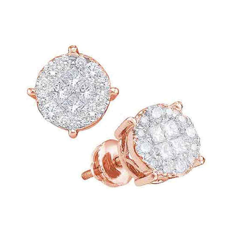 14kt Rose Gold Womens Princess & Round Diamond Soleil Cluster Screwback Earrings 1.00 Cttw
