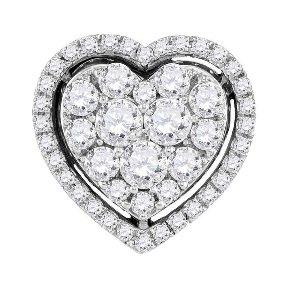10kt White Gold Womens Round Diamond Frame Heart Cluster Pendant 1.00 Cttw