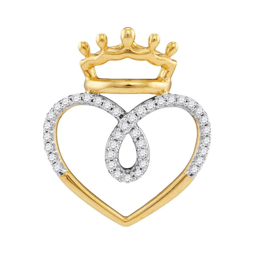 10kt Yellow Gold Womens Round Diamond Crowned Heart Pendant 1/5 Cttw