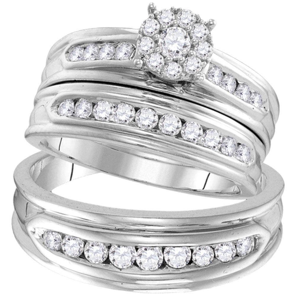 14kt White Gold His Hers Round Diamond Cluster Matching Wedding Set 1 Cttw
