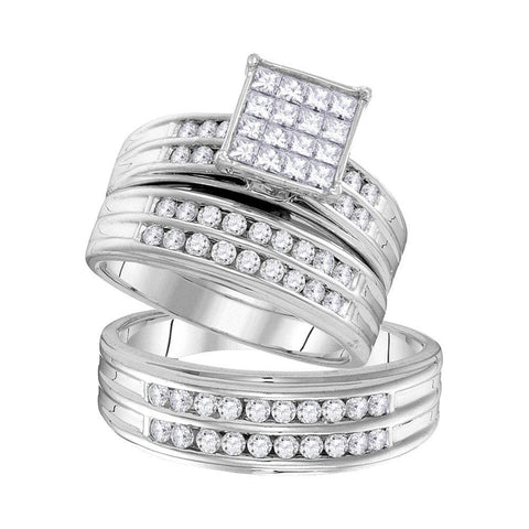 14kt White Gold His & Hers Princess Diamond Cluster Matching Bridal Wedding Ring Band Set 1-1/2 Cttw