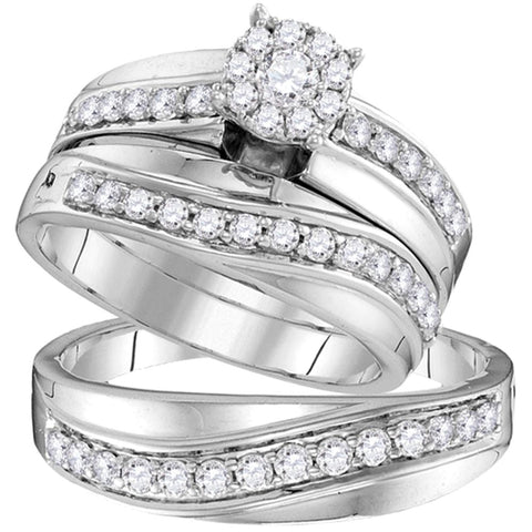 14kt White Gold His & Hers Round Diamond Cluster Matching Bridal Wedding Ring Band Set 1.00 Cttw