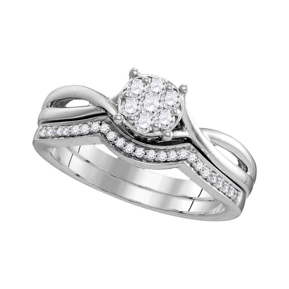10kt White Gold Womens Round Diamond Twist Bridal Wedding Engagement Ring Band Set 1/3 Cttw