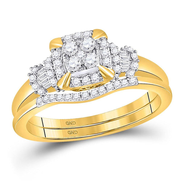 10kt Yellow Gold Womens Round Diamond Square Bridal Wedding Engagement Ring Band Set 3/8 Cttw