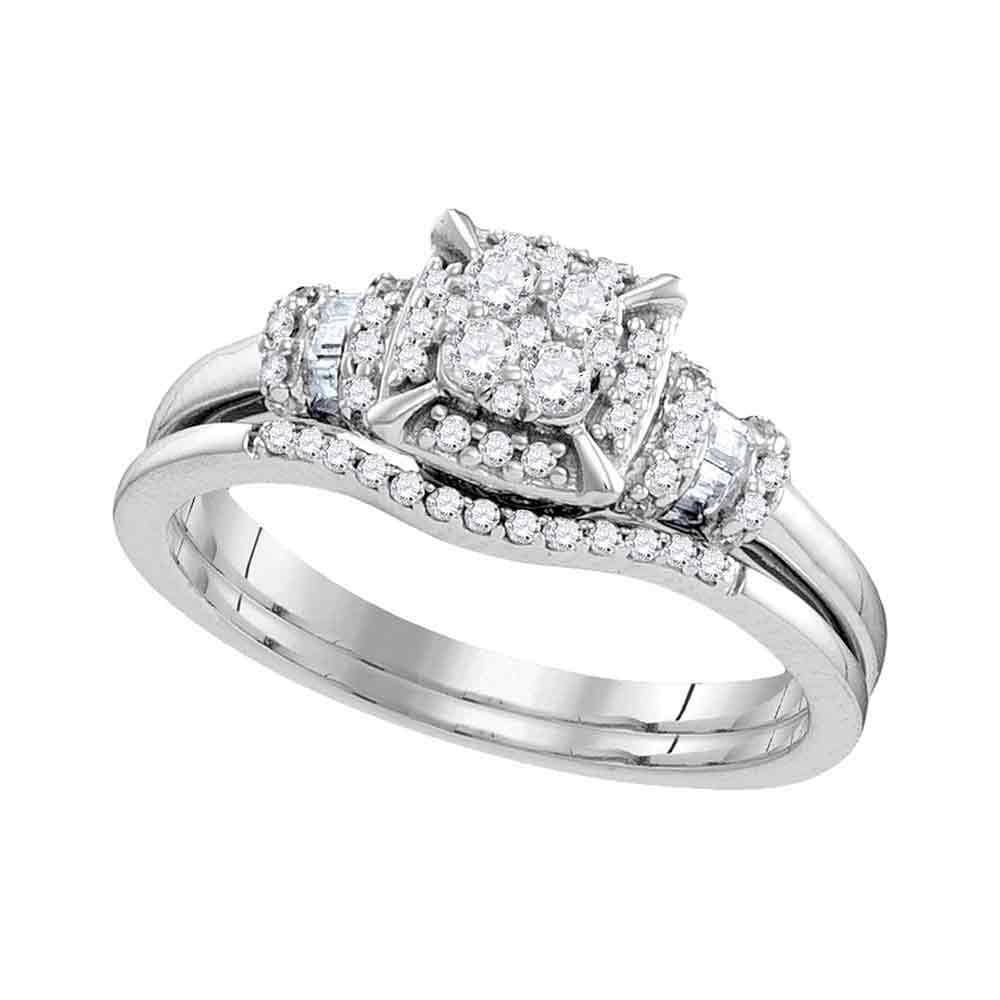 10kt White Gold Womens Round Diamond Square Bridal Wedding Engagement Ring Band Set 3/8 Cttw