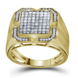 10kt Yellow Gold Mens Princess Diamond Cluster Ring 1-1/12 Cttw