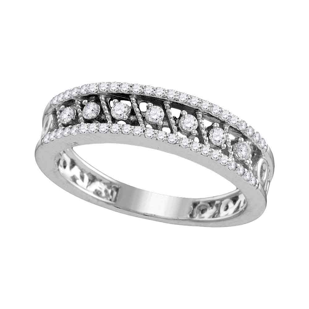10kt White Gold Womens Round Diamond Milgrain Band Ring 1/4 Cttw