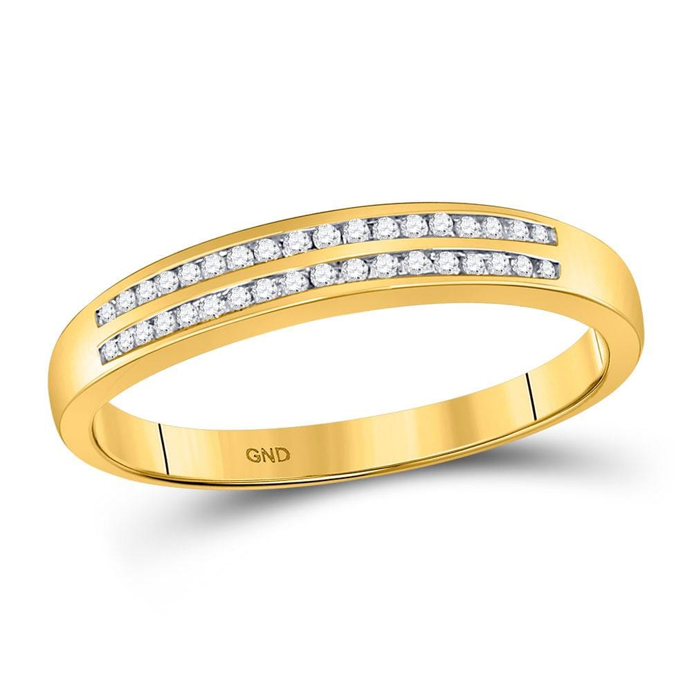 10kt Yellow Gold Mens Round Diamond Slender Double Row Band Ring 1/5 Cttw