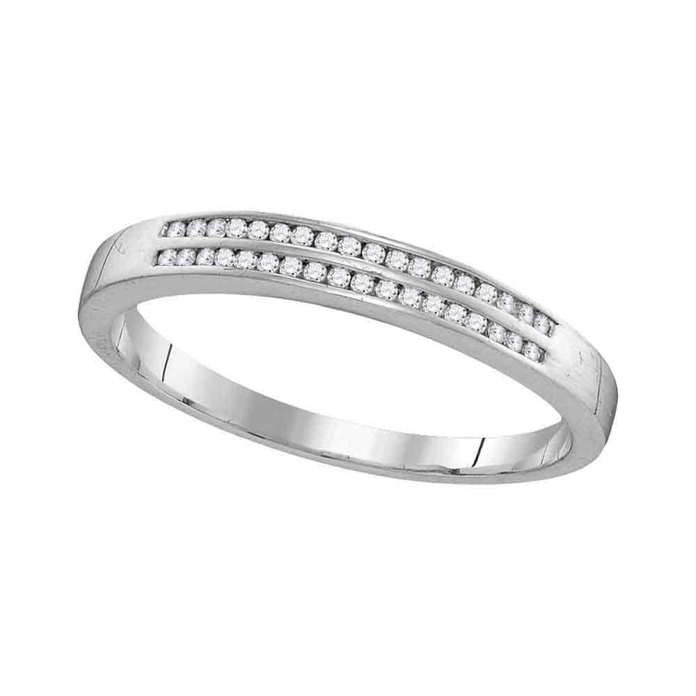 10kt White Gold Mens Round Diamond Slender Double Row Band Ring 1/5 Cttw