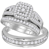 10kt White Gold His & Hers Round Diamond Cluster Matching Bridal Wedding Ring Band Set 1-1/5 Cttw