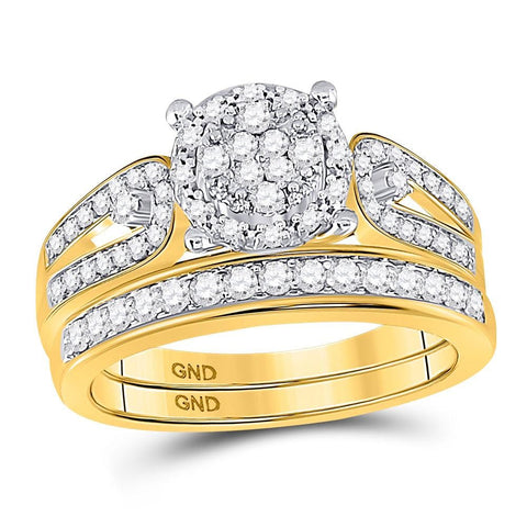 10kt Yellow Gold His & Hers Round Diamond Cluster Matching Bridal Wedding Ring Band Set 1-1/20 Cttw