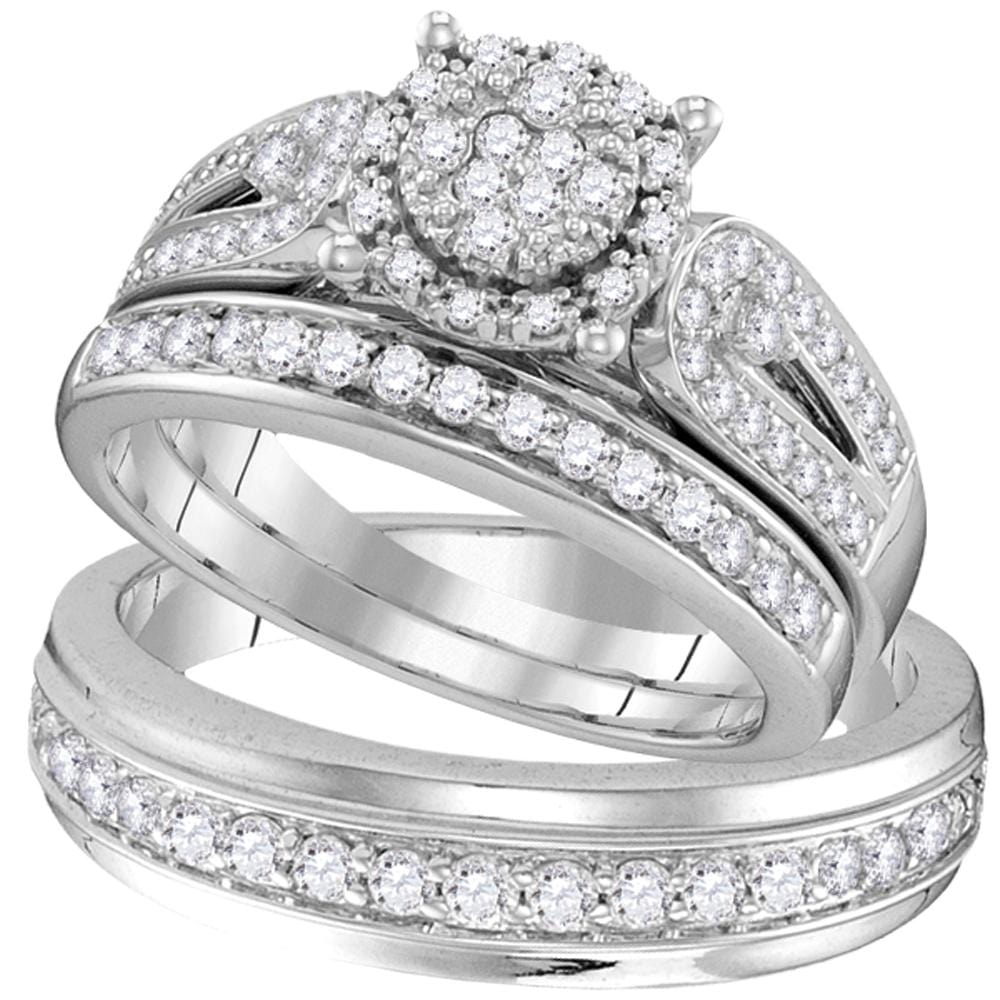 10kt White Gold His & Hers Round Diamond Cluster Matching Bridal Wedding Ring Band Set 1-1/20 Cttw