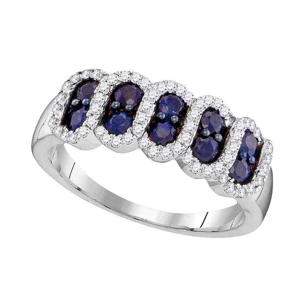 10kt White Gold Womens Round Blue Sapphire Diamond Stripe Band 1.00 Cttw