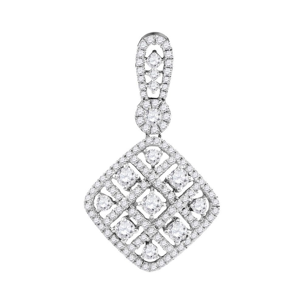 10kt White Gold Womens Round Diamond Square Pendant 1.00 Cttw