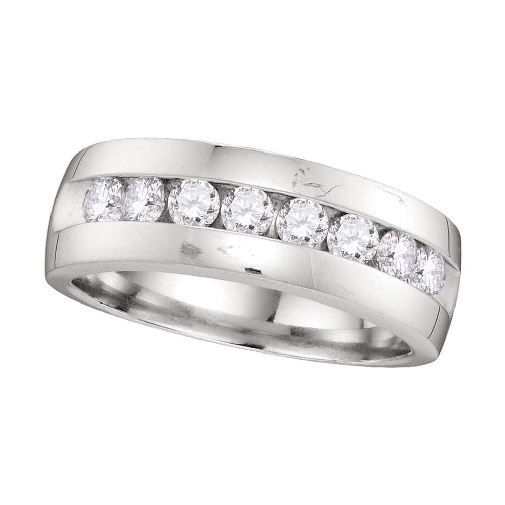 14kt White Gold Mens Round Diamond Wedding Anniversary Band Ring 1.00 Cttw