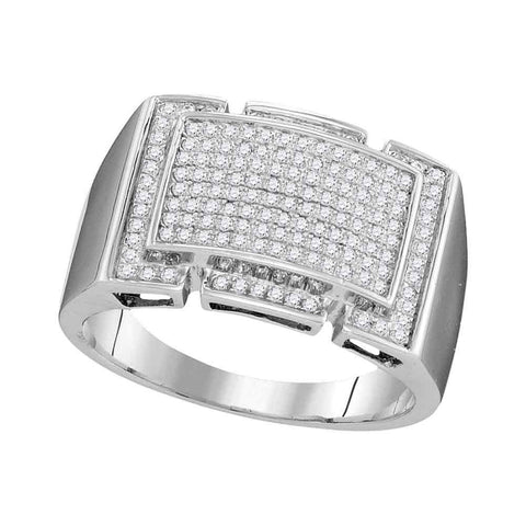 10kt White Gold Mens Round Pave-set Diamond Rectangle Cluster Ring 1/2 Cttw