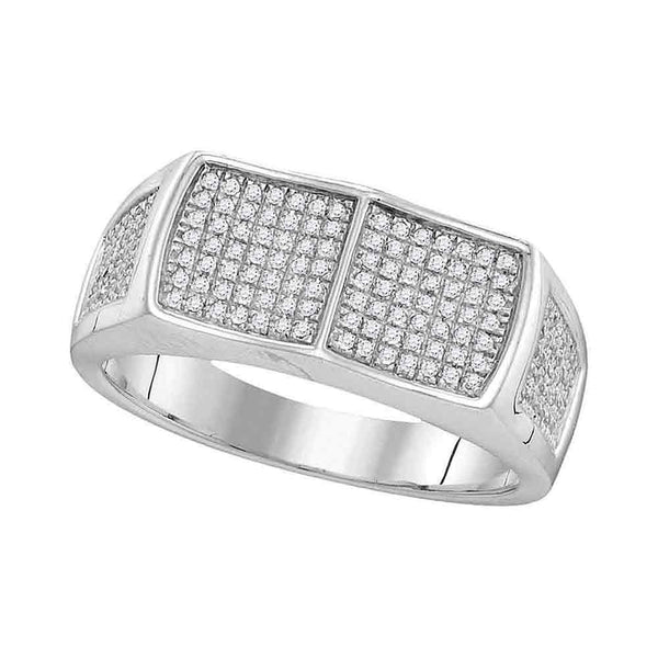 10kt White Gold Mens Round Diamond Double Square Cluster Ring 1/3 Cttw